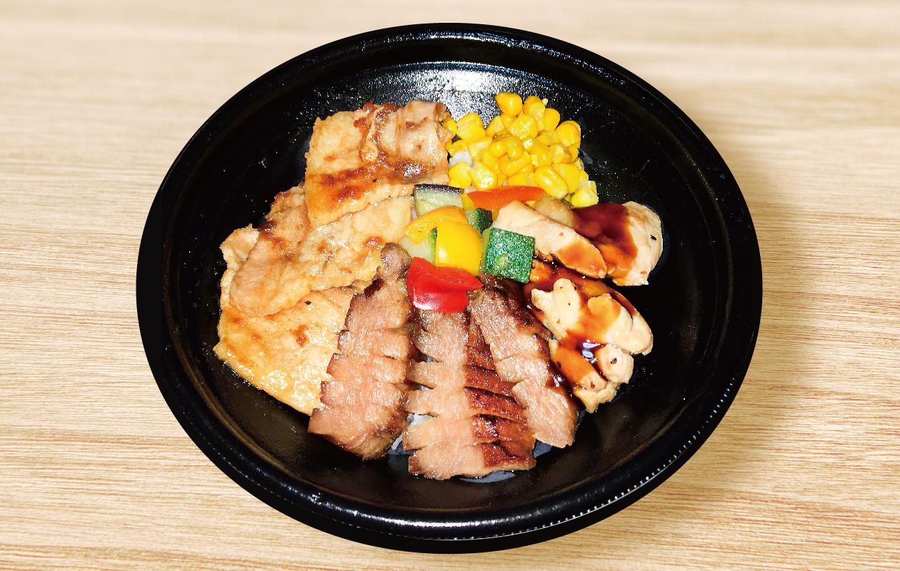 山田哲人の3種の肉づくし丼